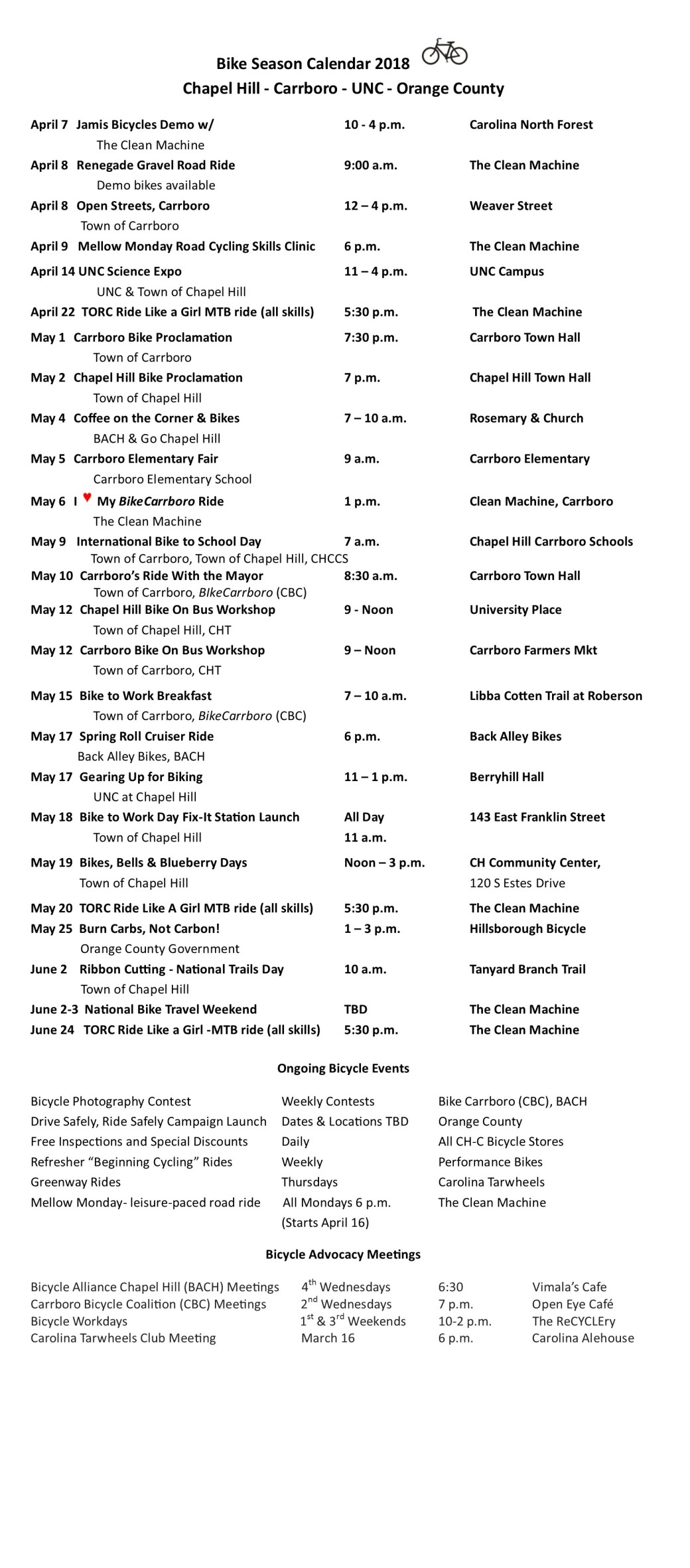 FB Bike Schedule